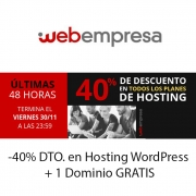 -40% DTO. en Hosting WordPress + 1 Dominio GRATIS